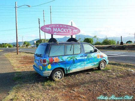 マッキーズ・ガーリック・シュリンプの看板自動車