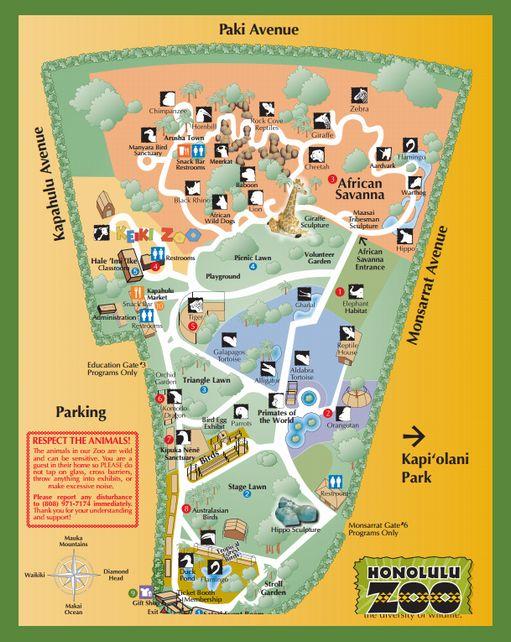 ホノルル動物園園内地図