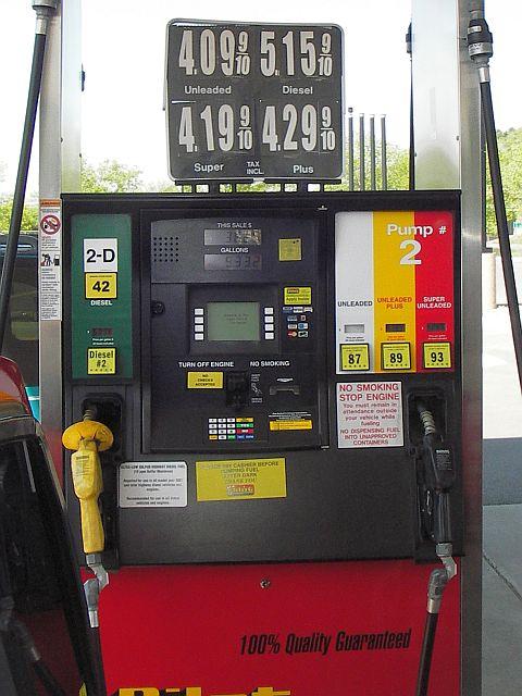 ガソリンスタンドのポンプ