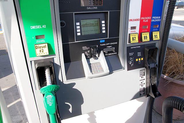 ガソリンスタンドのポンプの拡大写真